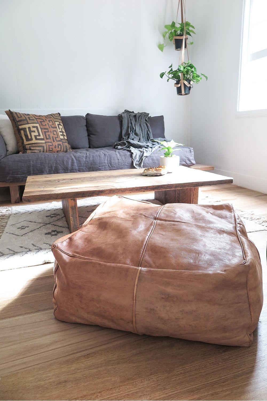 Hendrix Harlow The Big Papa Square Leather Ottoman Light Tan Leather Ottoman Couch With Ottoman Ottoman