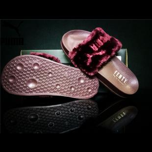 99976036e346 Women s Puma x Rihanna Leadcat Fenty Fur Slide Sandals Wine ...