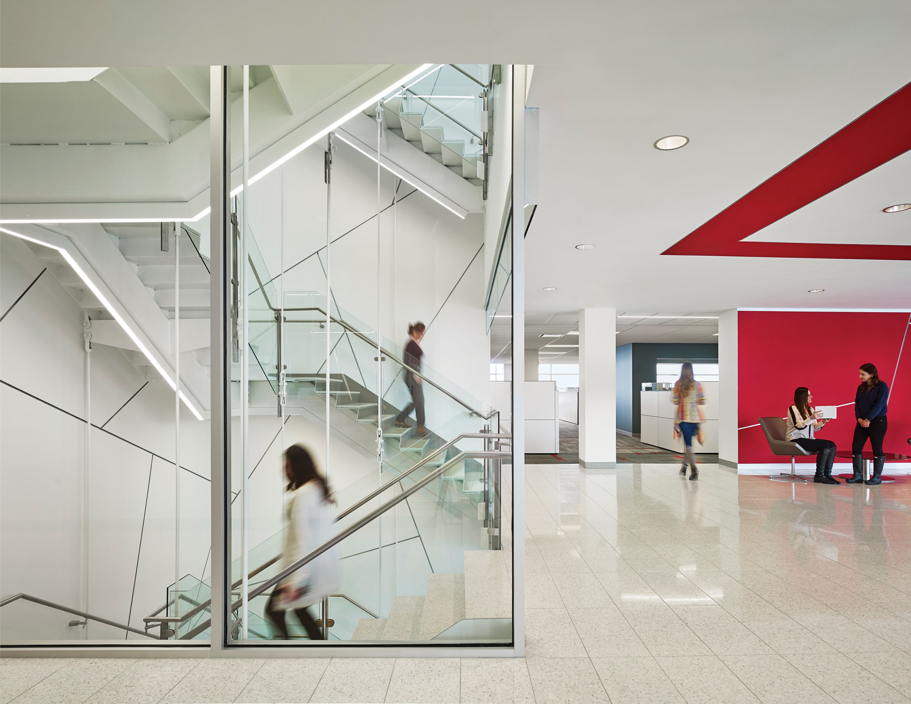 98f52207263 HP-2 Surface Mount linear LED luminaire tailored to travel the grand  stairway at Burlington Stores Headquarters. Designed by KSS Architects.