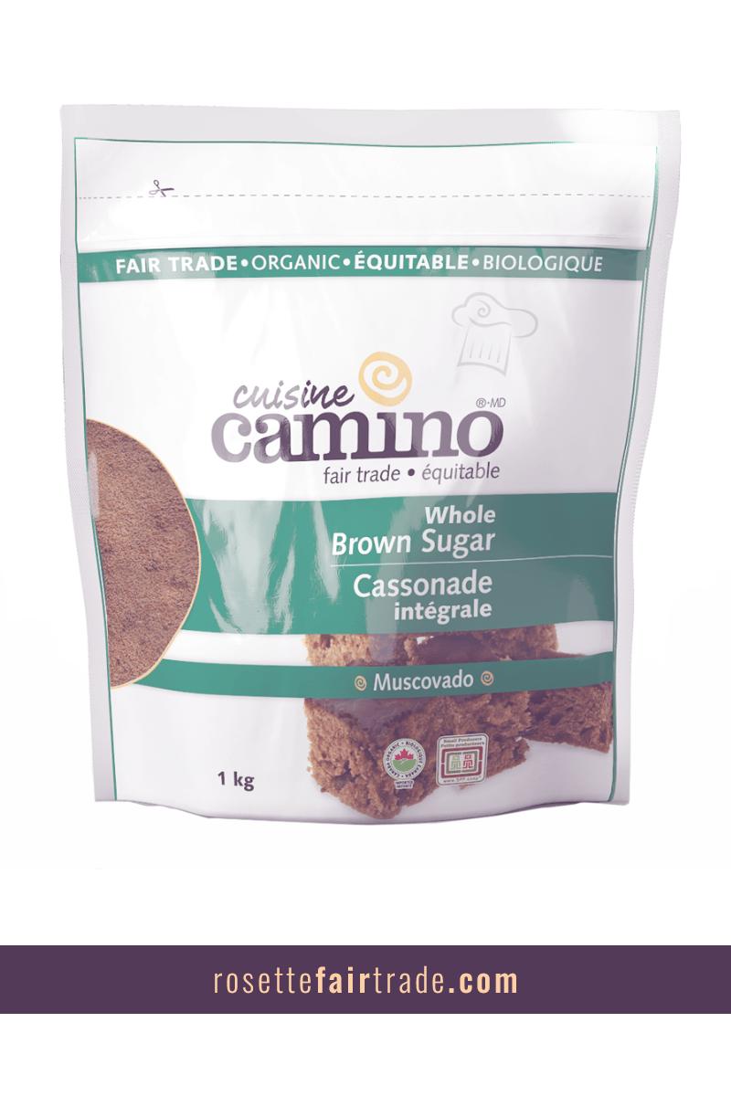 Whole Brown Sugar (Muscovado), 1kg Fair trade branding