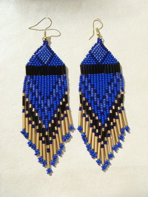 Midnight Sky Shades of Blue Seed Beaded Earrings by UnitedTribe, $45.00