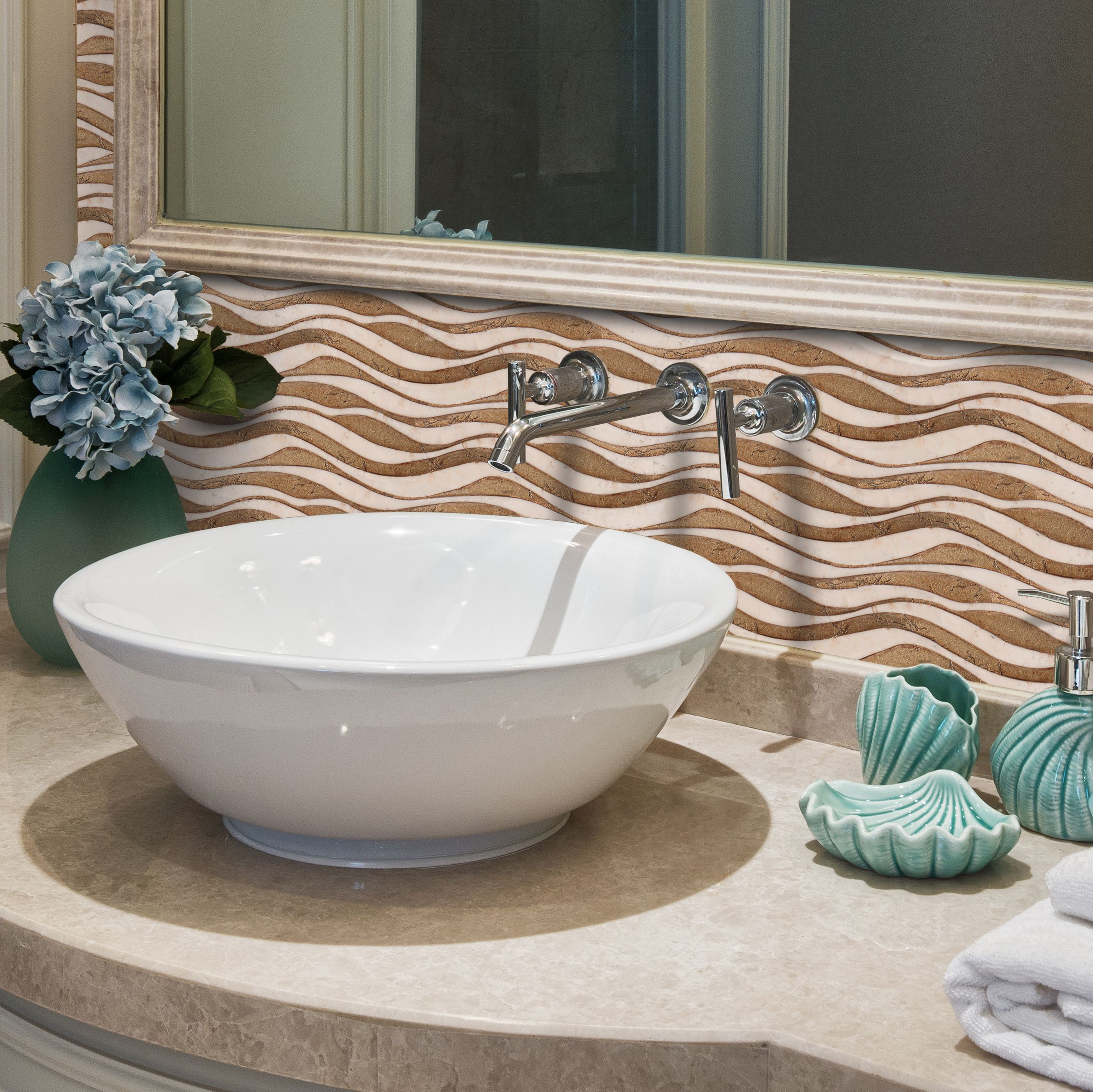 From our hand carved marble border collection wave in