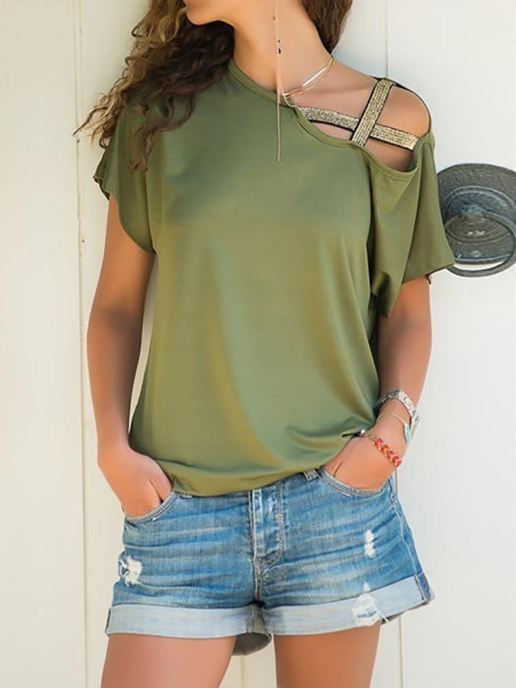 Summer Women Cross Shoulder Shirt Tunic Cross One Shoulder Short Sleeve
