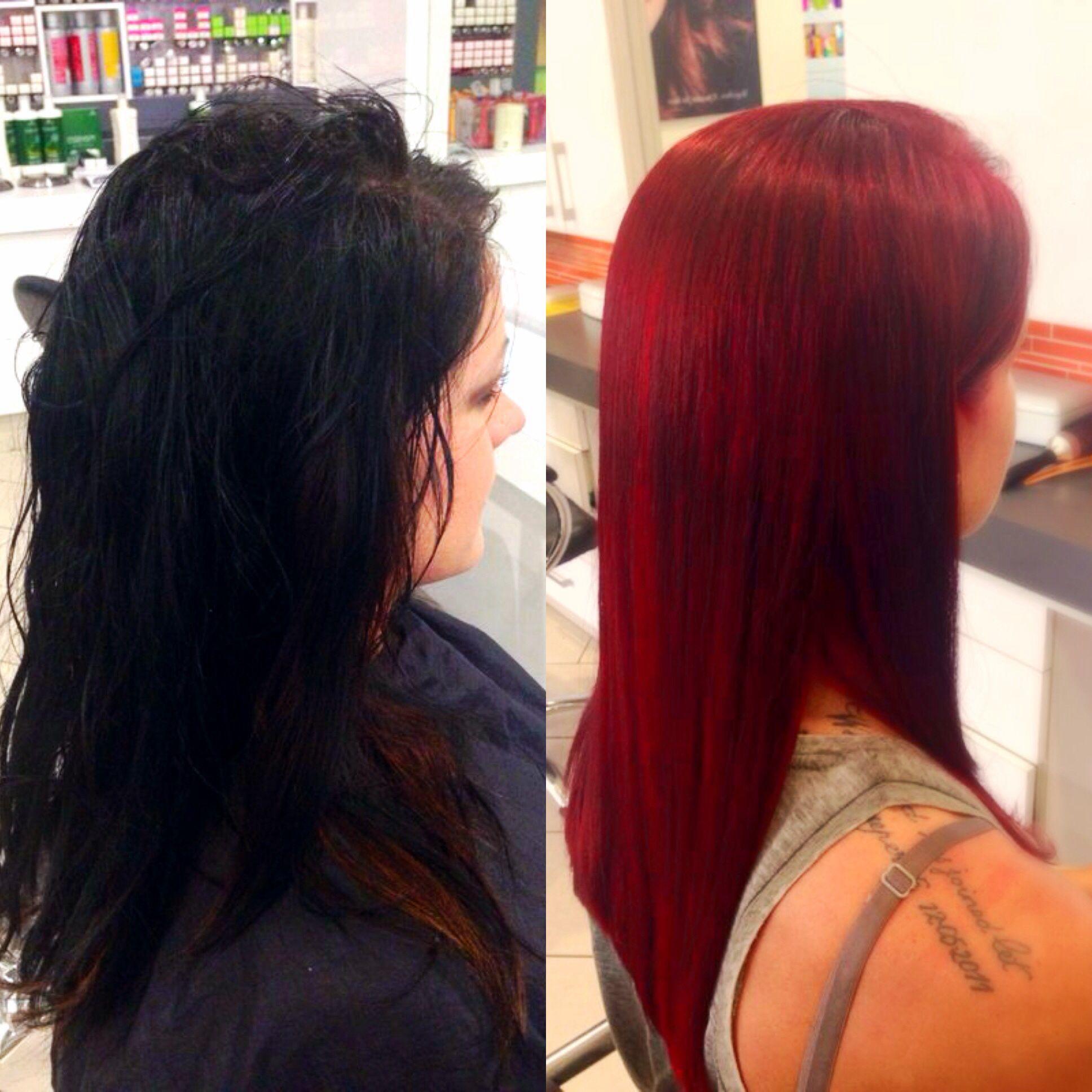 Amazing Hair Transformation From Black Box Hair Dye To A Stunning Red Box Hair Dye Cool Hairstyles Hair Transformation