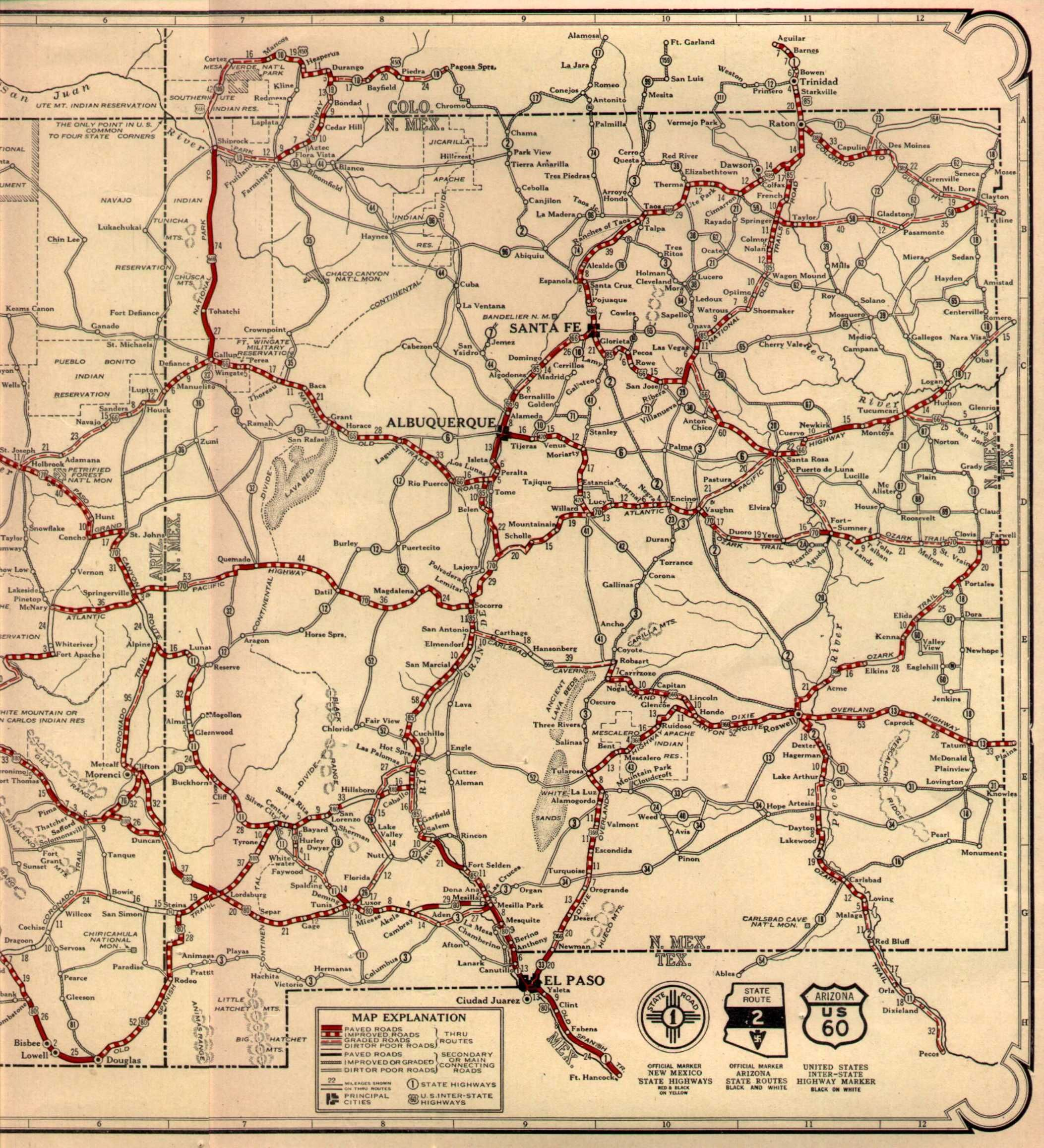 Route On AZNM Map Maps Pinterest Route Road - 1934 us highways map midwest