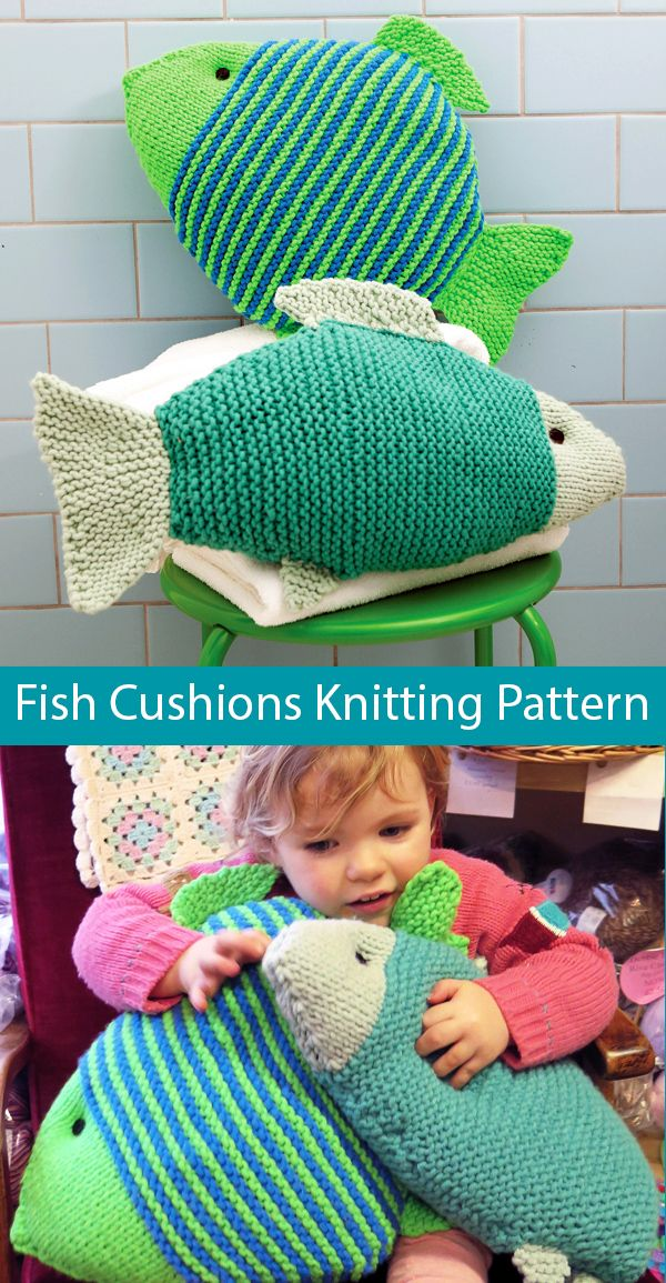 Photo of Knitting Pattern for Easy Make a Splash Fish Cushions