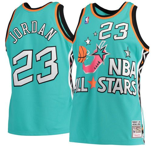 54d73a004528 Men s Michael Jordan Mitchell   Ness Aqua 1996 NBA All-Star Game Hardwood  Classics Authentic Jersey