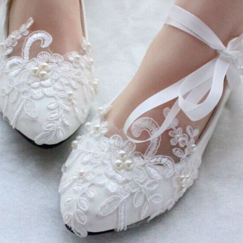 Lace Pearls Pointed Toes Women Wedding Shoes With Ribbons Lace Up ...