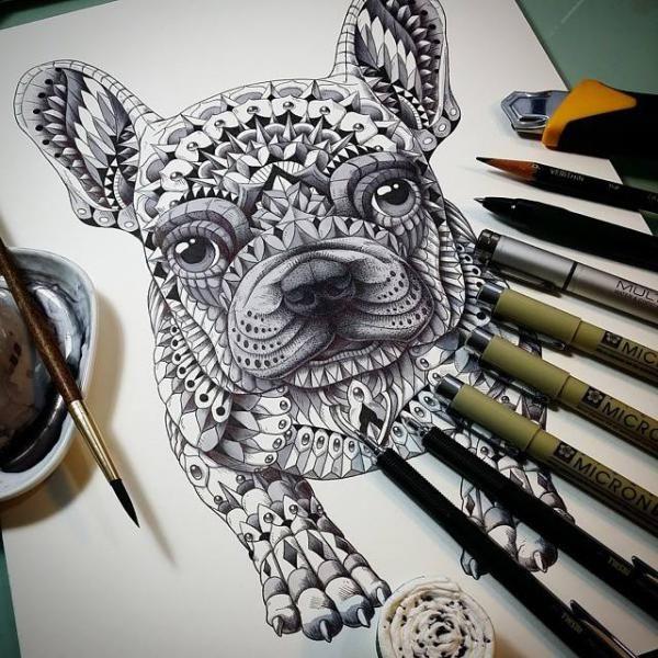 Frenchie Geometric Tattoo That S Just Amazing Dog Tattoos