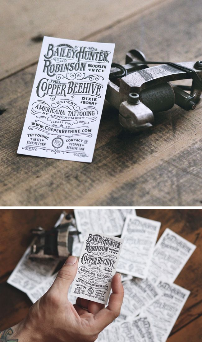 The Top 15 Vintage Business Cards Typography Card Designs For Copper Beehive Tattoo Designed By Two Arms Inc