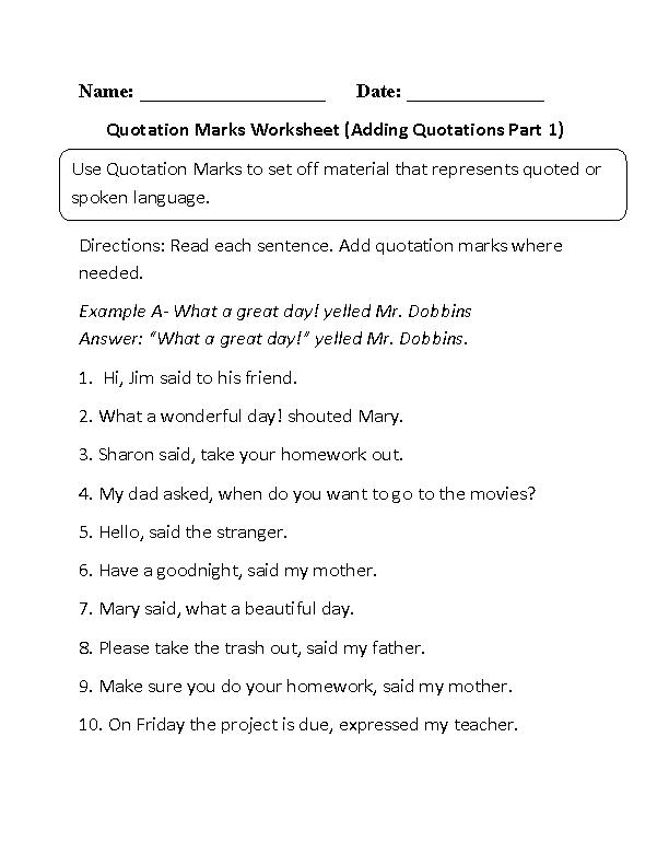 Adding Quotation Marks Worksheet | educational | Punctuation ...