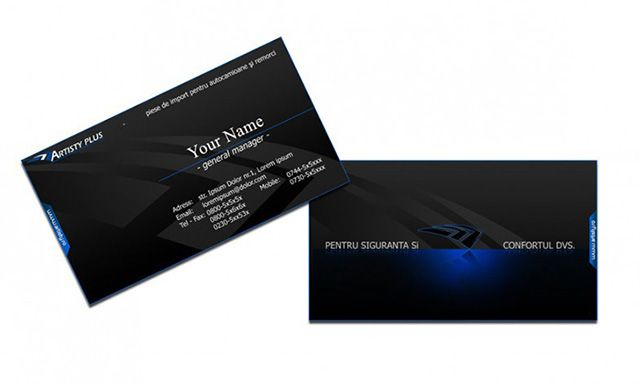 Amazing Black Business Card Design With Blue 3d Effects Available