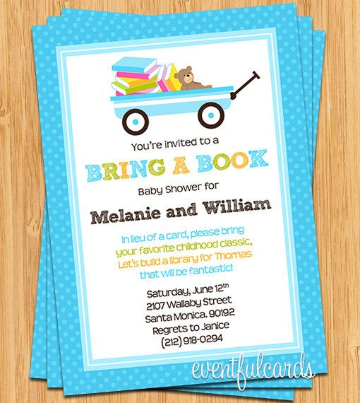 Bring A Book Baby Shower Invitation Perfect Just Add That They Should Write  A Message Inside Book For Baby