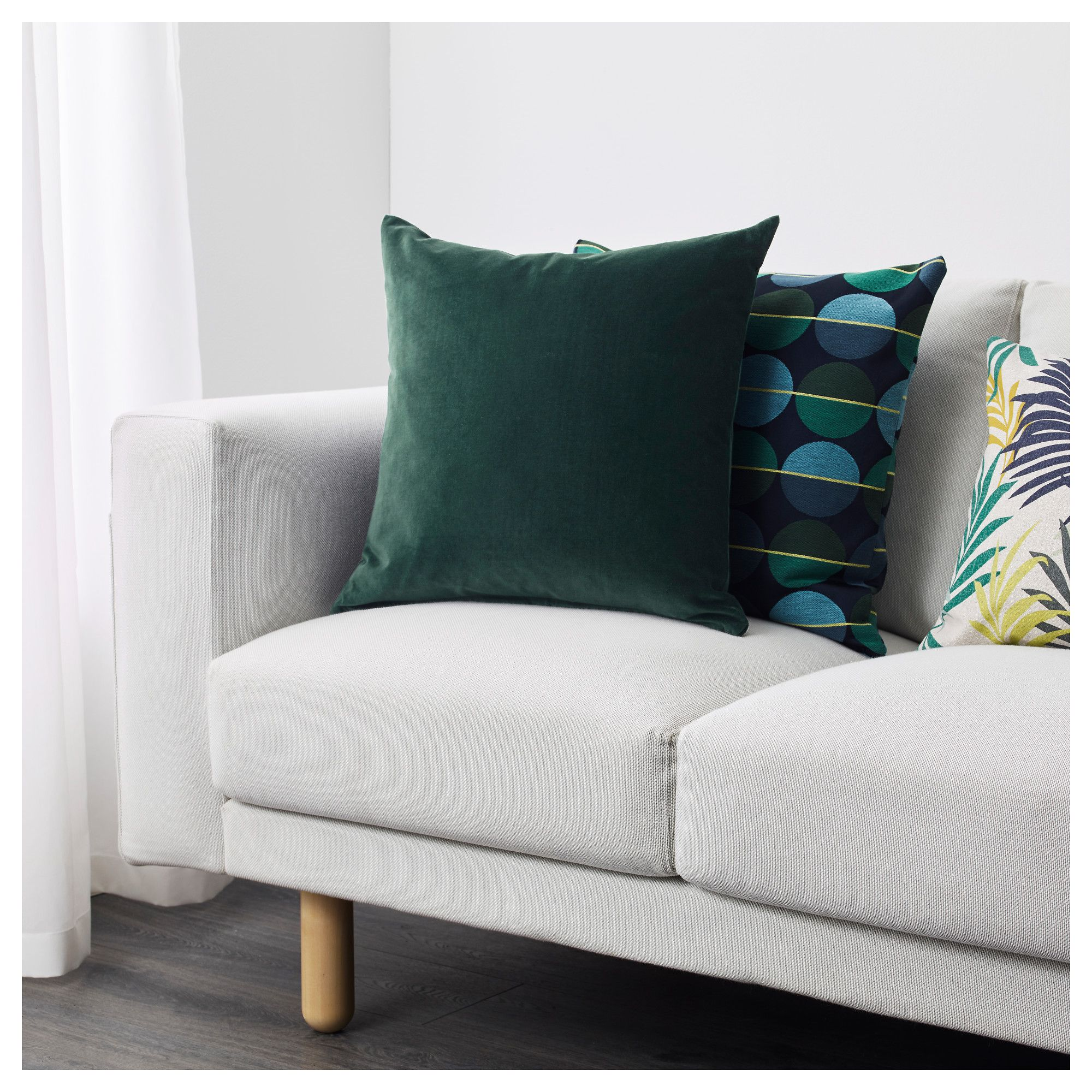 "SANELA Cushion cover dark green 20x20 "" (50x50 cm"