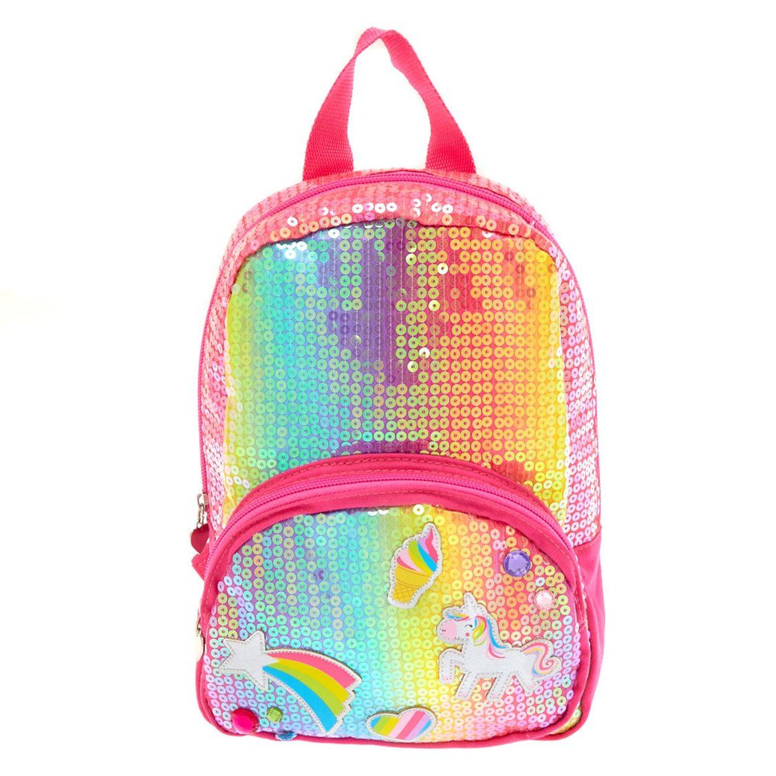 Kids Rainbow Unicorn Sequin Backpack   Rainbows and sequins are always in!  The added rainbow patches and faux crystals add a cute extra flare to this  ... 2d5ca76357