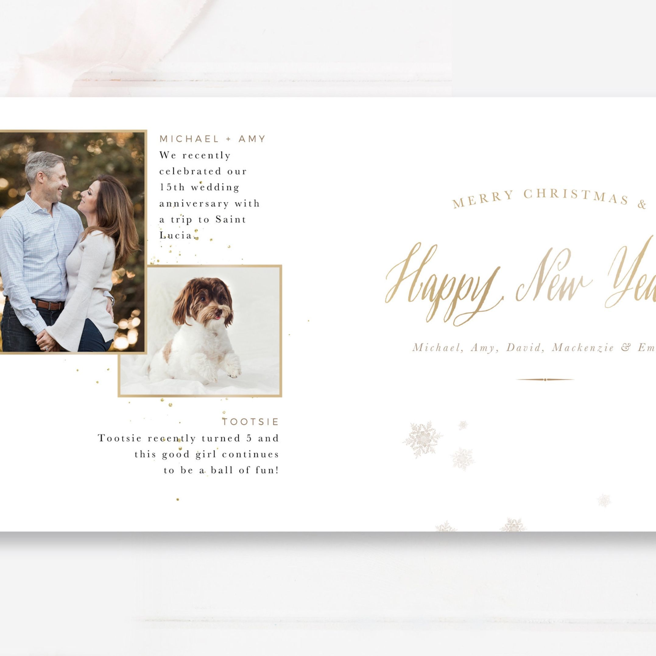 Year In Review Christmas Card Template Gold Christmas Trifold Etsy Christmas Card Template Card Template Photo Card Template