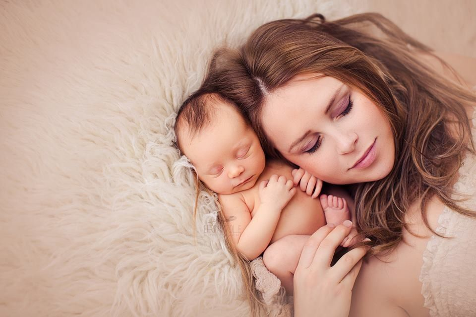 Newborn and mother photo