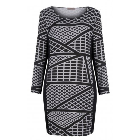 a36735cfae8 Stand out in this long sleeved bodycon dress with a vibrant geometric  print. A scoop neckline and black panelling detail along the inside sleeve  and side ...