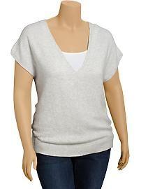 Women's Plus V-Neck Cap-Sleeve Sweaters