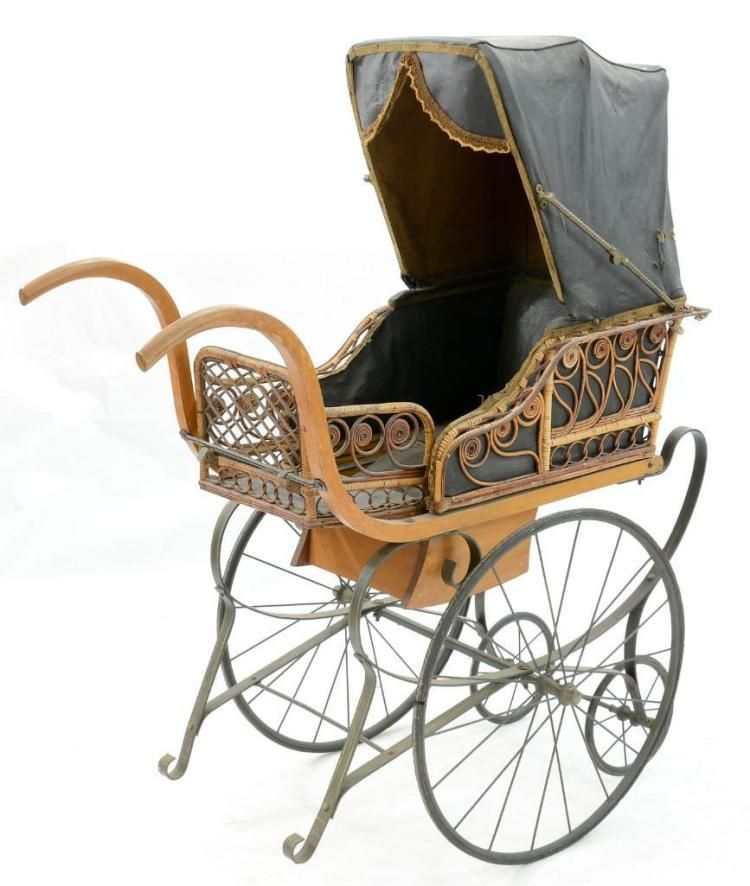 Victorian Wood and Wicker Baby Carriage.