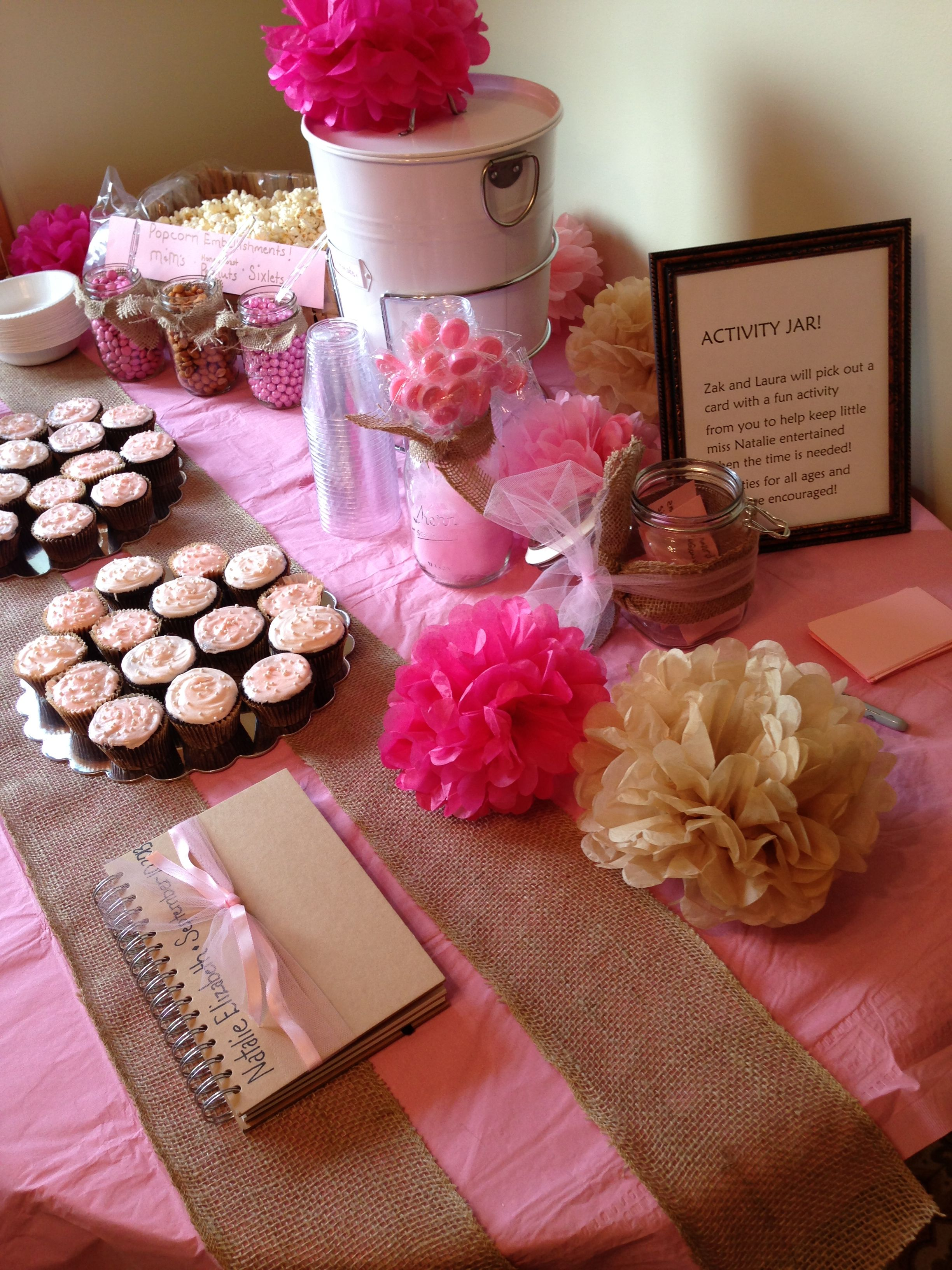 Baby shower for a friend with pink/burlap decor. Activity jar and ...