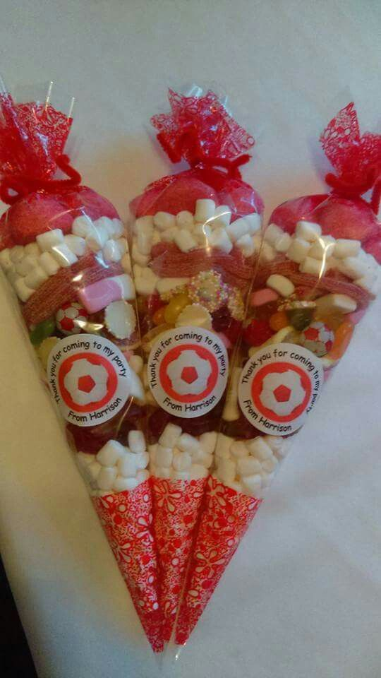 Liverpool fc sweet party cones with personalised sticker