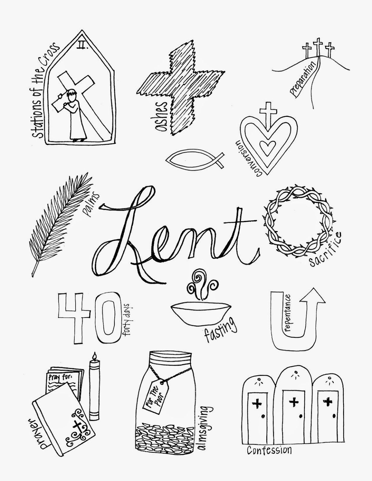 What Lent Looks Like | Coloring page with symbols of Lent | Look to ...