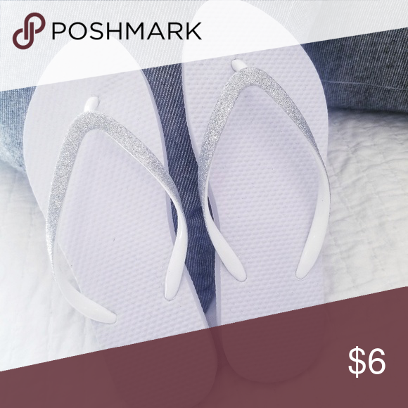 White And Silver Flip Flops Nwt  Silver Flip Flops, Flip -8160