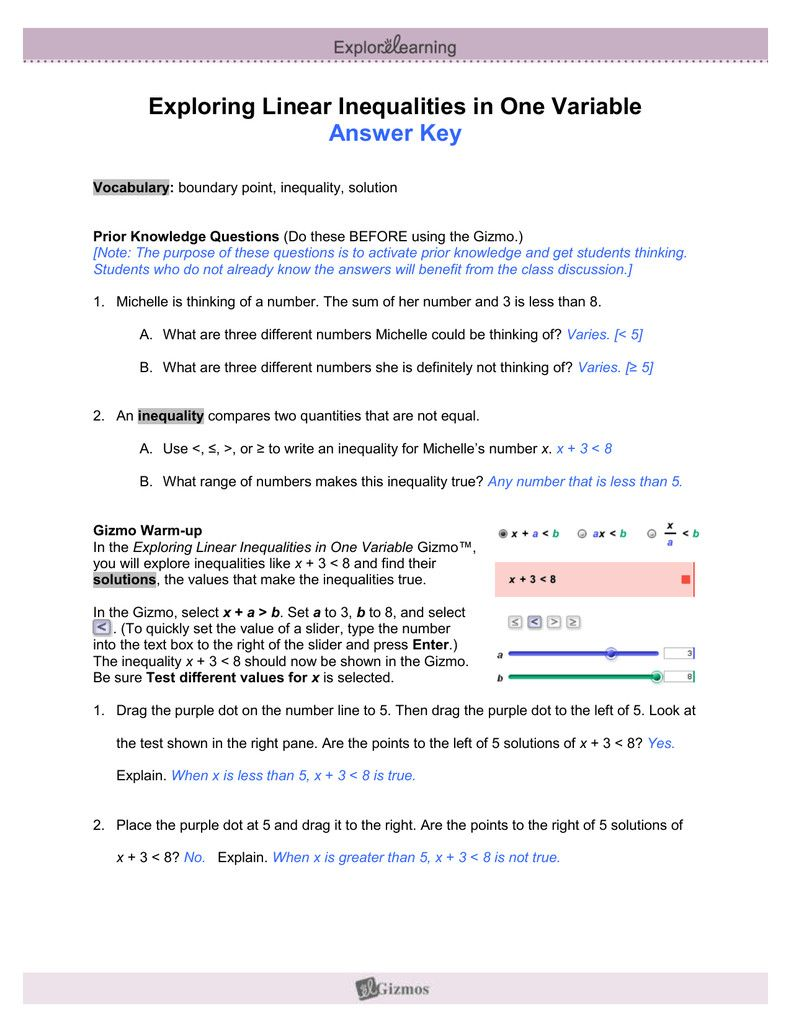 7 Equations and Inequalities Worksheet Answers 2 in 2020