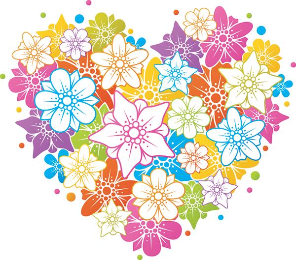 Floral Heart Love symbols, Floral, Vector free