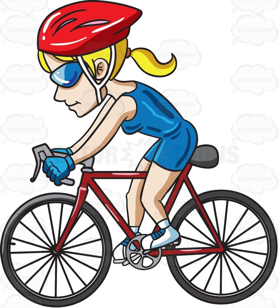 A Woman Riding A Bike To Keep In Shape Cartoon Clipart Vector