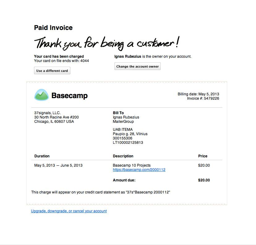 Basecamp Invoice email Best Transactional Emails Pinterest - sending invoices by email