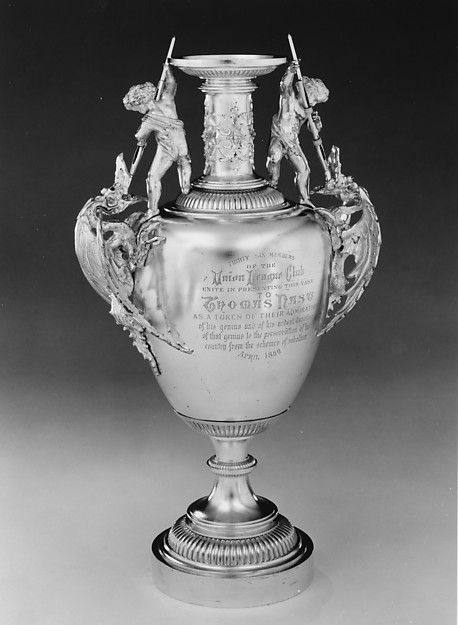 Vase Tiffany Co 1869 Silver Silver Gilt And Glass Her Elegant