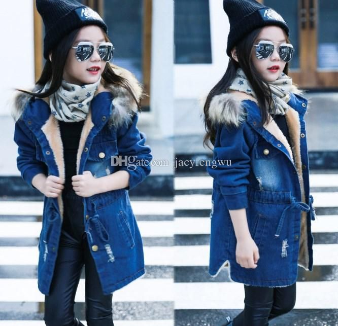 d0a8cfb62 baby girls winter coats kids warm Denim Jackets outwear Protection ...