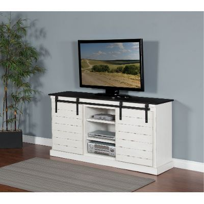 65 Inch European Cottage Charcoal Gray U0026 White TV Stand