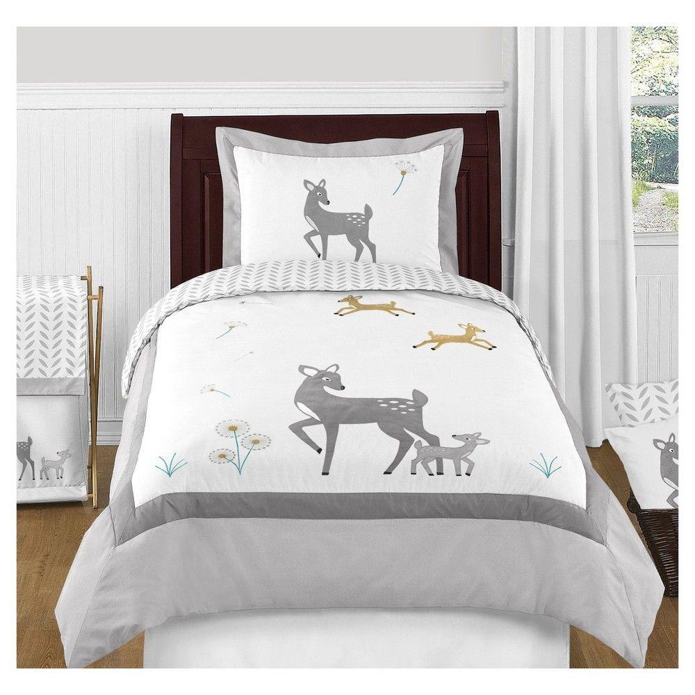 White & Gray Forest Deer Bedding Set (Toddler) Sweet