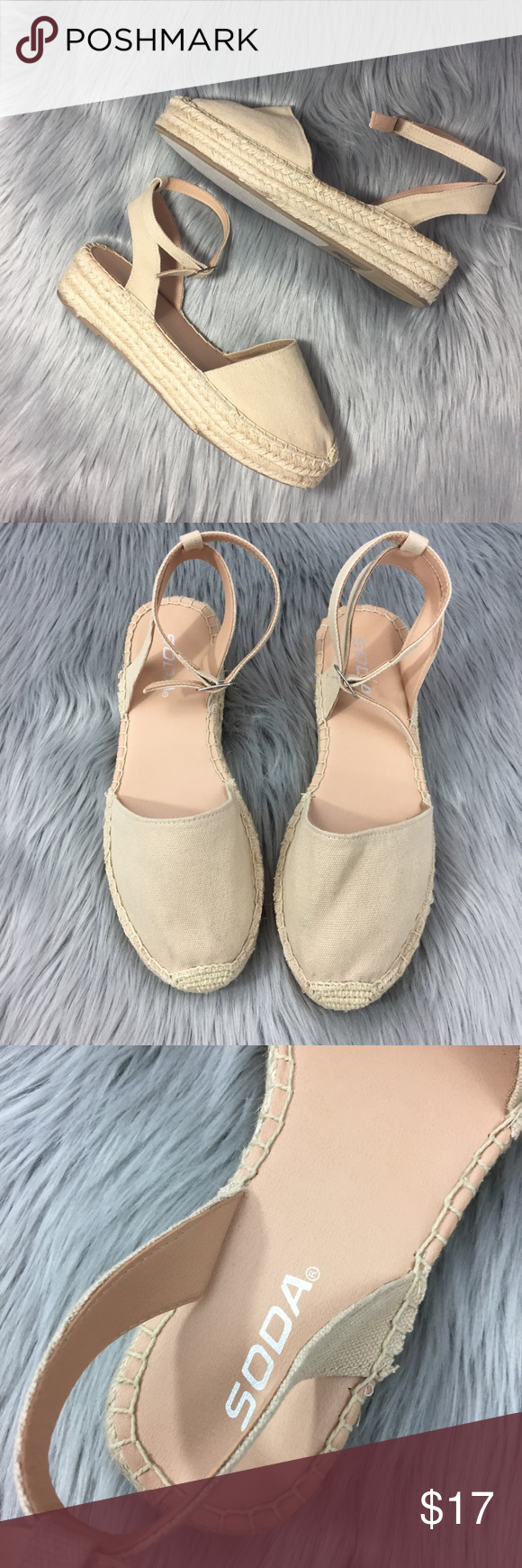 """ef609adcf4680 Soda Closed Toe Low Wedge Espadrille Sandals Excellent condition low wedge  espadrilles from Soda, """"fiesta"""" style with ankle strap and toe enclosure  -nude ..."""