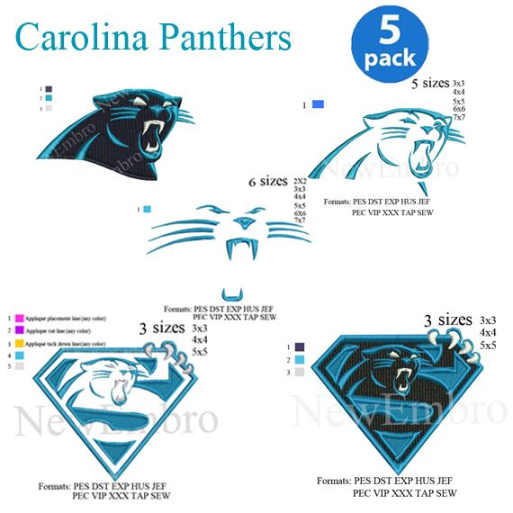 reputable site bcaf3 24ae7 Carolina Panthers logo 05 Pack 05 designs in 1 embroidery ...