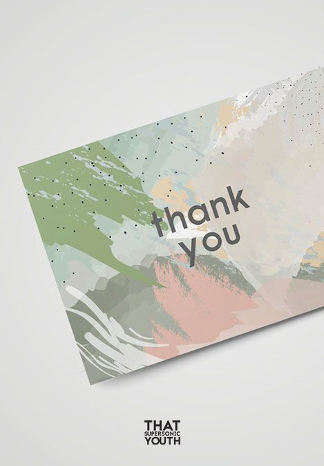Elegant Printable Thank You Card, Pastel Sage, Dusty Green Wedding Thank You Note, Abstract, Marble Card, Instant PDF Download