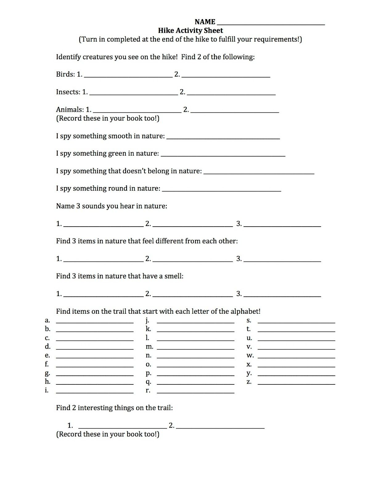 What 5 Teach Me Cub Scout Hike Activity Worksheet