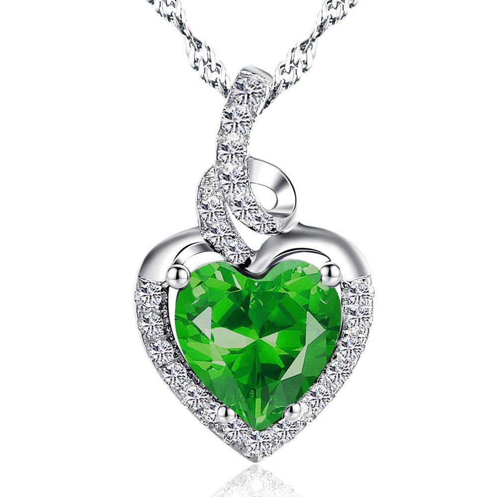 Mabella sterling silver lab created emerald heart pendant necklace mabella sterling silver lab created emerald heart pendant necklace 18 gift for women mozeypictures Image collections