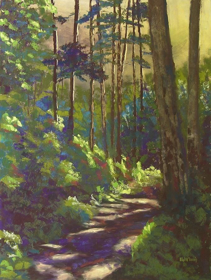 Mysterious Wood Painting Mysterious Wood Fine Art Print By Mary Mcinnis Landscape Art Painting Landscape Paintings Landscape Artwork