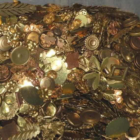 Raw Brass Filigree Stampings Drops Destash by TrinityBrass on Etsy 1lb 29.00