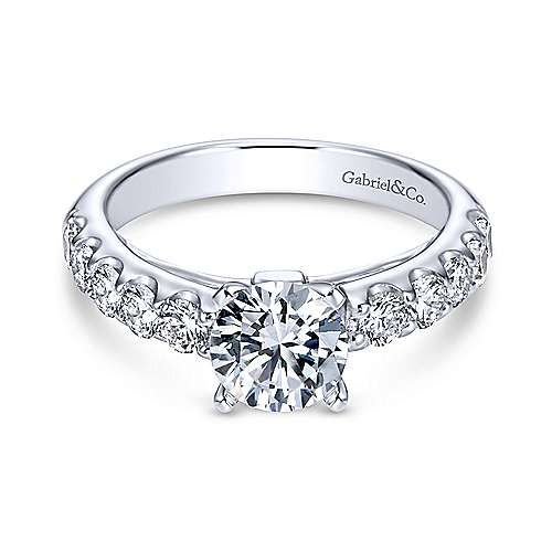 Kenia 14k White Gold Round Straight Engagement Ring In