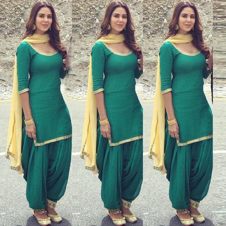 Beautiful Green Plain Patiala Salwar Suit for Girl.   Patiyala Suits ...