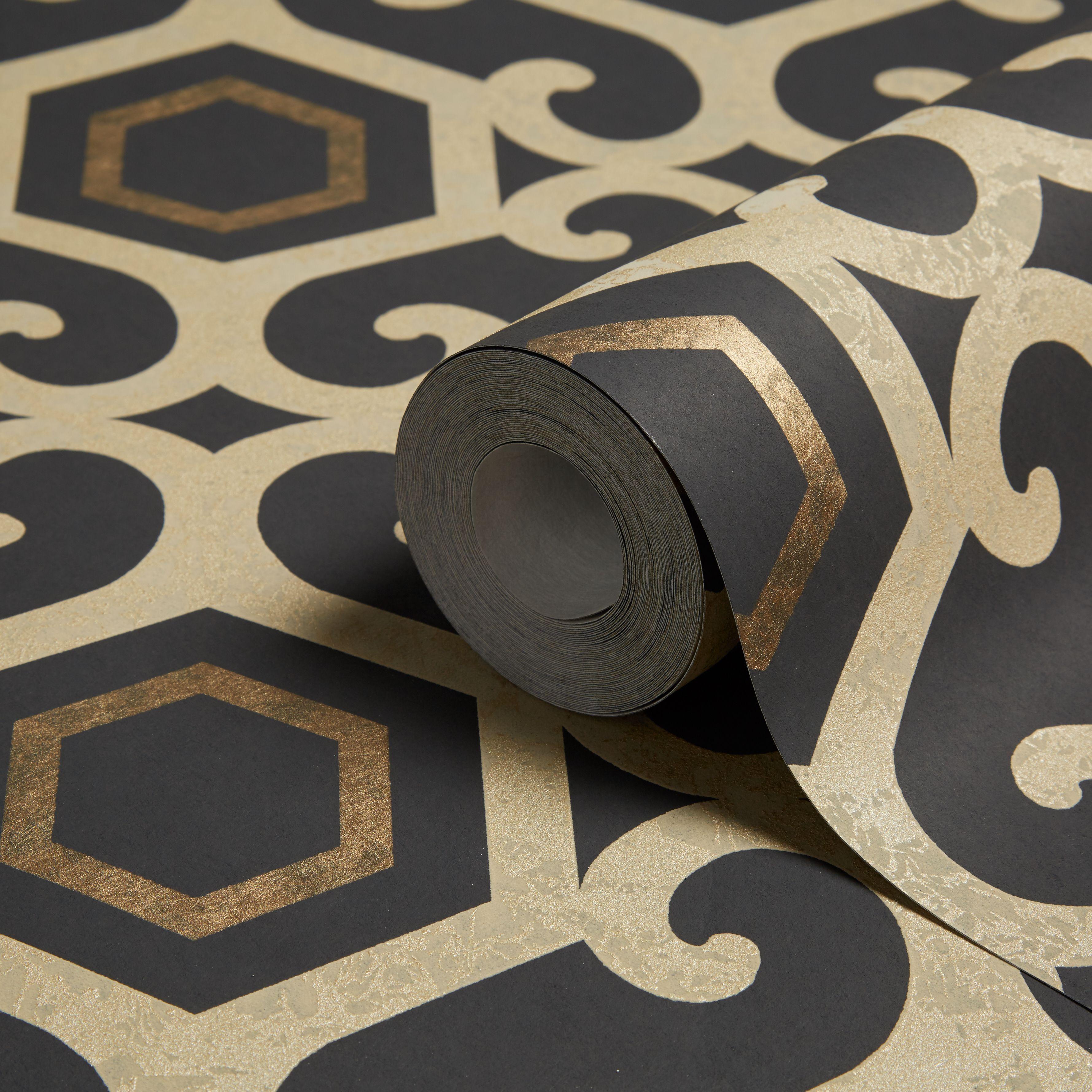 Arthouse Boutique Amber Black Geometric Metallic Wallpaper