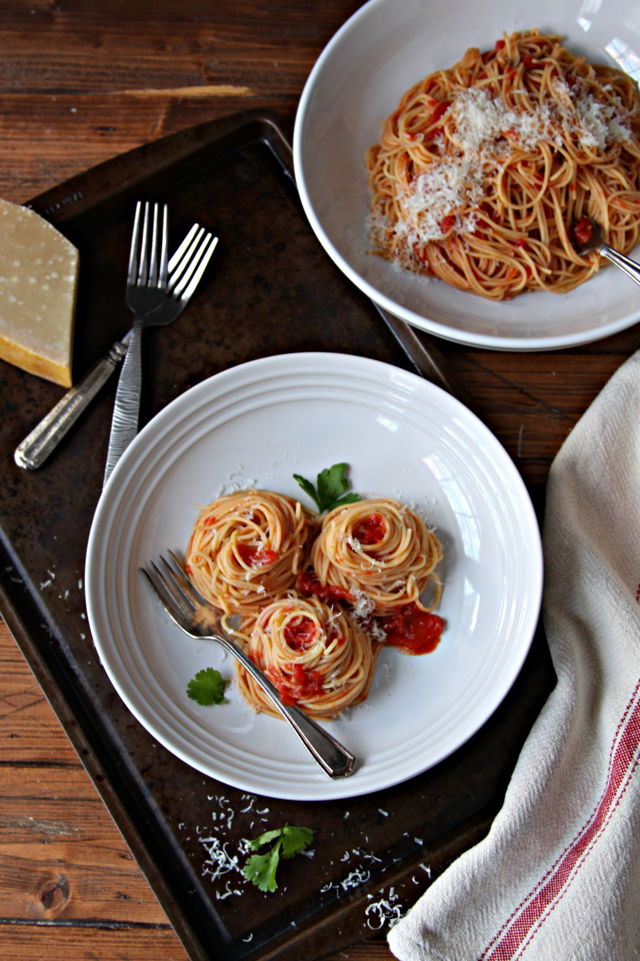 Spaghetti with Butter Roasted Tomato Sauce is perfect for winter because it uses canned tomatoes. Roasting them in butter brings out the flavor.