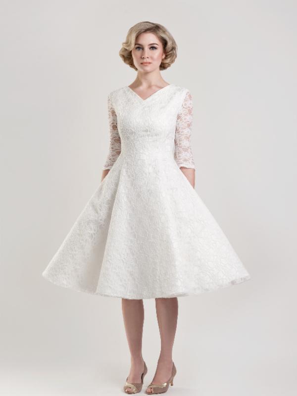 Short Wedding Dresses For Older Brides Tea length