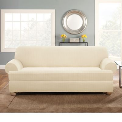 Sure Fit Stretch Pinstripe 2-Piece T-Cushion Sofa Slipcover ...