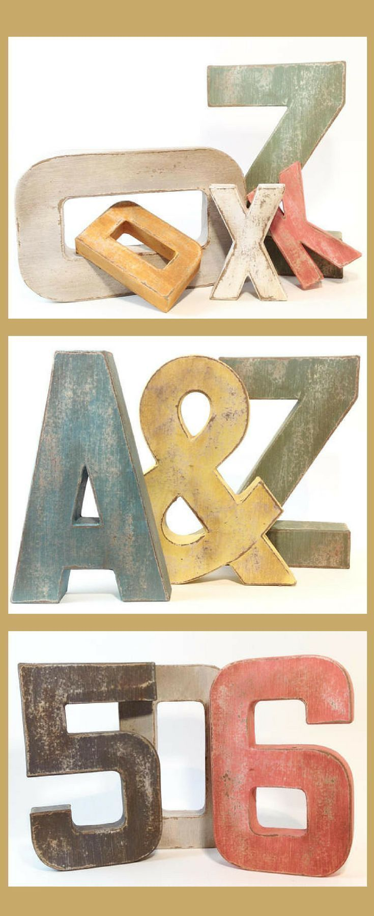 Distressed Letters and Numbers - Farmhouse Decor, Shabby Chic Decor ...